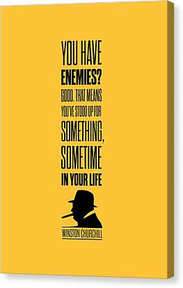 Winston Churchill Inspirational Quotes Poster Canvas Print by Lab No 4 - The Quotography Department