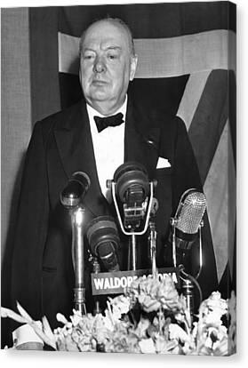 Winston Churchill Speaks Canvas Print by Underwood Archives