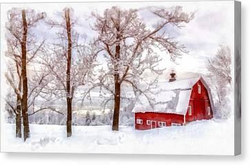Winter Arrives Watercolor Canvas Print by Edward Fielding