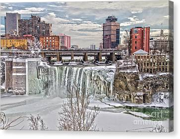 Winter At High Falls Canvas Print by William Norton