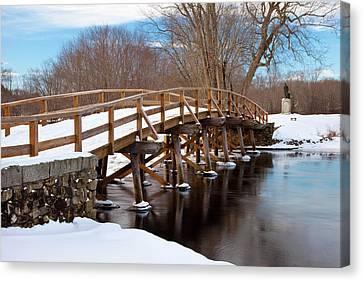 Winter At Historic Old North Bridge Canvas Print by Brian Jannsen