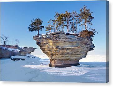 Winter At Port Austin's Turnip Rock Canvas Print by Craig Sterken