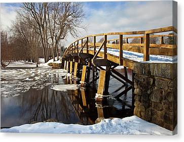 Winter At The Historic Old North Bridge Canvas Print by Brian Jannsen