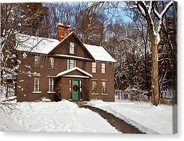 Winter At The Louisa May Alcott Home Canvas Print by Brian Jannsen