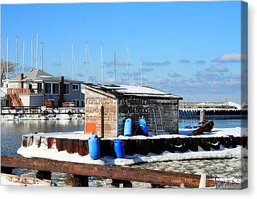 Winter At The Olcott Beach Fishing Shack Canvas Print by Michael Allen