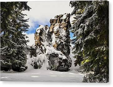 Winter At The Stony Summit Canvas Print by Aged Pixel