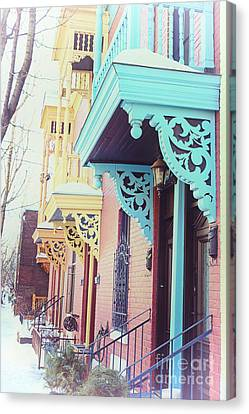 Winter Balconies In Montreal Canvas Print by Jane Rix