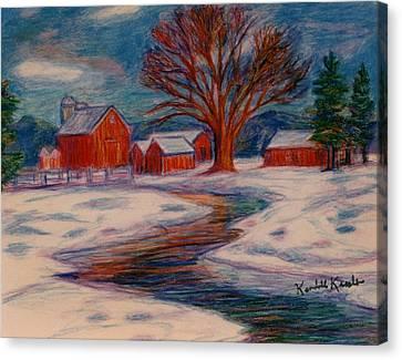 Winter Barn Scene Canvas Print by Kendall Kessler