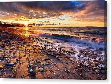 Winter Beach Sunset Canvas Print by Alexis Birkill