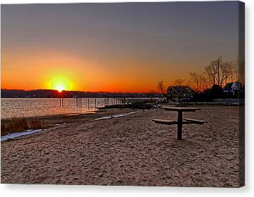 Winter Beach Sunset Canvas Print by Bob Slitzan