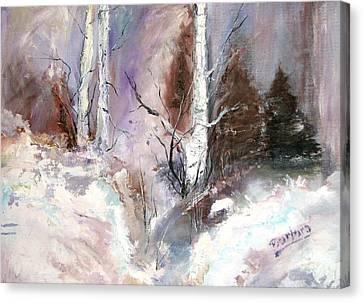 Winter Birches Canvas Print by Barbara Cole