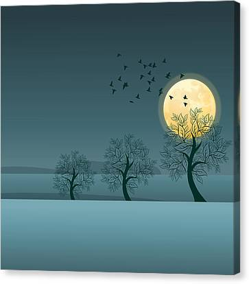 Winter Birds And Trees Canvas Print by Nop Briex