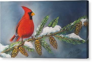 Winter Cardinal 2 Canvas Print by Melinda Saminski