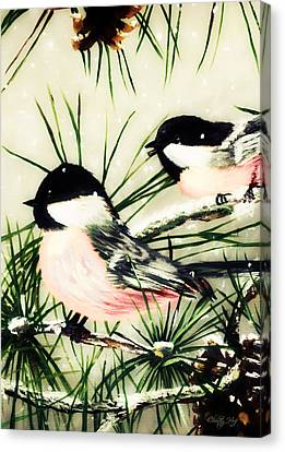 Winter Chickadees 2 Canvas Print by Chastity Hoff