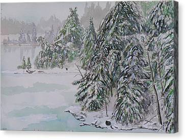 Winter Chill St Lawrence River Canvas Print by Robert P Hedden
