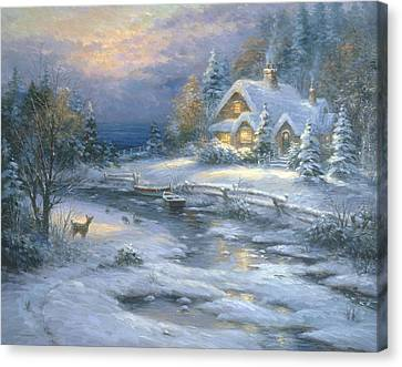 Winter Cottage Canvas Print by Ghambaro