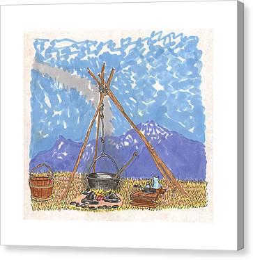 Cowboy Campfire Canvas Print by Jack Pumphrey
