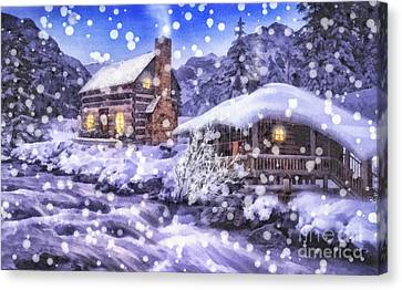 Winter Creek Canvas Print by Mo T