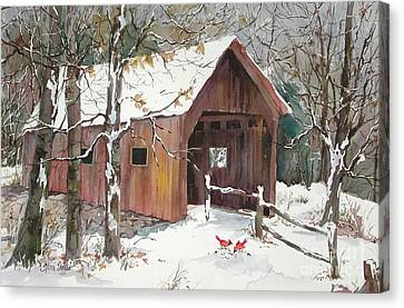 Winter Crossing Canvas Print by Sherri Crabtree