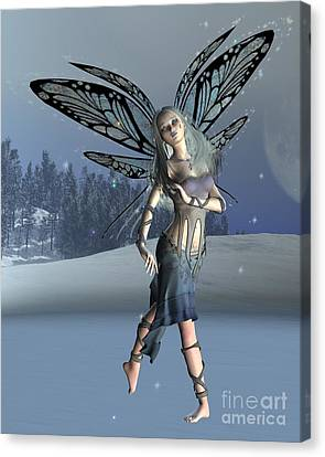 Winter Frost Fairy Canvas Print by Fairy Fantasies