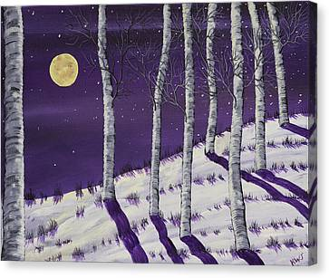 Winter Full Moon And Birch Trees  Painting Canvas Print by Keith Webber Jr