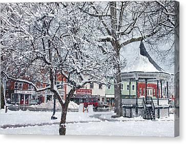 Winter Gazebo Canvas Print by Joann Vitali
