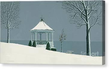 Winter Gazebo Canvas Print by Michael Swanson