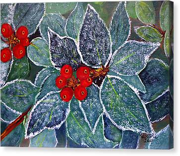 Winter Holly  Canvas Print by Maggie Ullmann