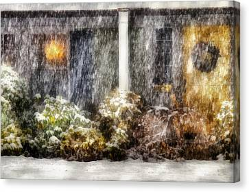 Winter - House - One Snowy Night Canvas Print by Mike Savad
