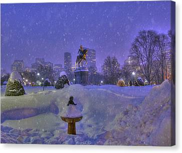 Winter In Boston - George Washington Monument - Boston Public Garden Canvas Print by Joann Vitali