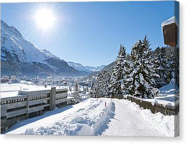 Winter In St. Moritz  Canvas Print by Design Windmill