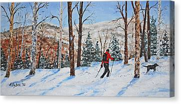 Winter In The Woods Canvas Print by Stanton Allaben