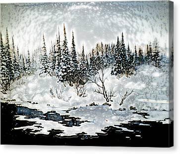 Winter Lake Sunset 2 Canvas Print by Hanne Lore Koehler