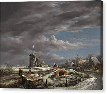 Winter Landscape With Figures On A Path Canvas Print by John Constable