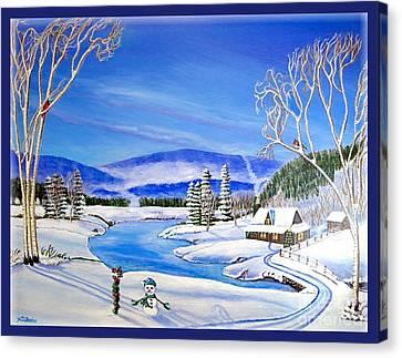 Winter Magic At A Mountain Getaway Canvas Print by Kimberlee Baxter