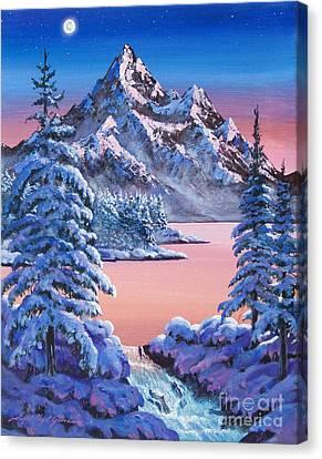 Winter Moon Canvas Print by David Lloyd Glover