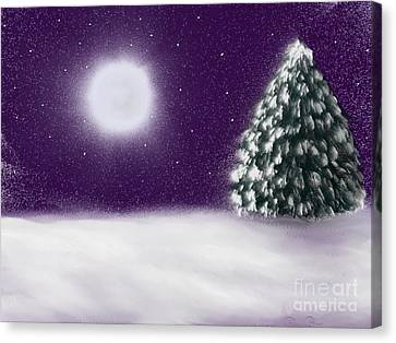 Winter Moon Canvas Print by Roxy Riou