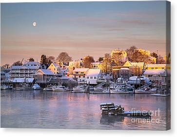 Winter Morning In Boothbay Harbor Canvas Print by Benjamin Williamson