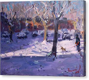 Winter Morning In My Courtyard Canvas Print by Ylli Haruni