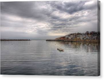 Winter Morning On Rockport Harbor Canvas Print by Joann Vitali