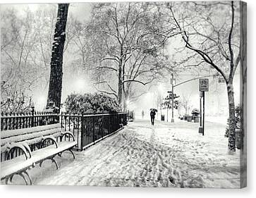 Winter Night - Snow - Madison Square Park - New York City Canvas Print by Vivienne Gucwa