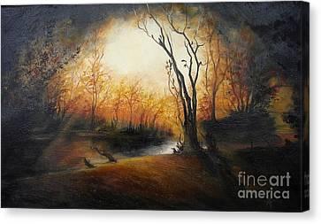 Winter Night Canvas Print by Sorin Apostolescu
