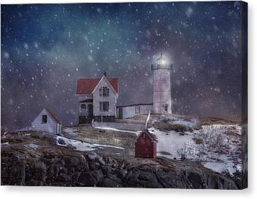 Winter Nights At Nubble Light Canvas Print by Joann Vitali