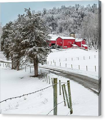 Winter Road Square Canvas Print by Bill Wakeley