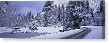 Winter Road, Yosemite Park, California Canvas Print by Panoramic Images