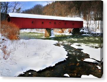 Winter Scene-west Cornwall Covered Bridge Canvas Print by Thomas Schoeller