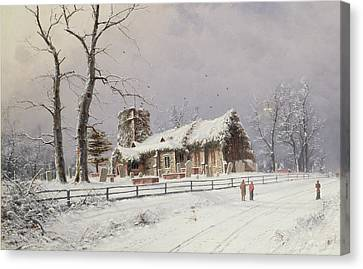 Winter Scene With Figures On A Path Near A Church Canvas Print by Nils Hans Christiansen