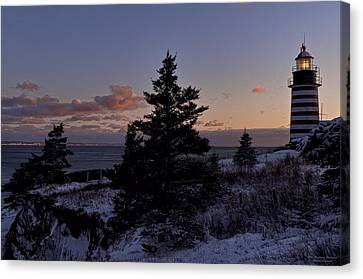 Winter Sentinel Lighthouse Canvas Print by Marty Saccone