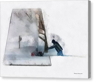 Winter Snow Blower Photo Art Canvas Print by Thomas Woolworth