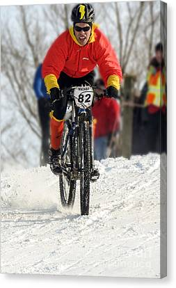 Winter Snow Mountain Bike Race Canvas Print by Darleen Stry